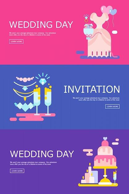 Hochzeitsillustration der einladung mit den ikonen eingestellt. Kostenlosen Vektoren