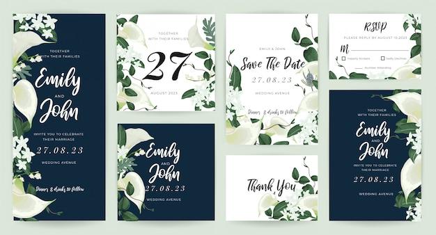 Hochzeitskarte einladung vorlagensammlung Premium Vektoren