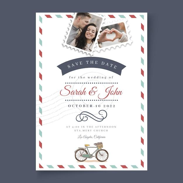 Hochzeitskarte minimale stilvorlage Kostenlosen Vektoren