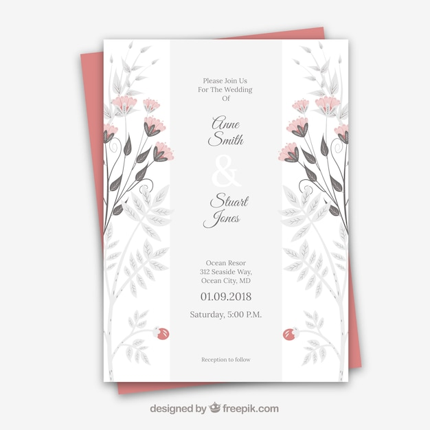 Hochzeitskarte mit floralen Ornamenten Kostenlose Vektoren