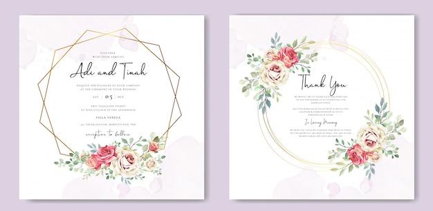 Hochzeitskarte mit ornament blumen und blätter Premium Vektoren