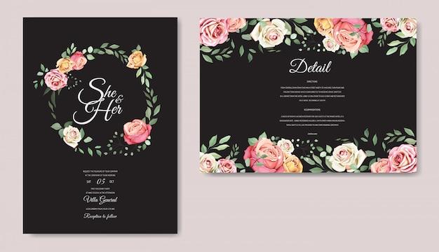 Hochzeitskarte mit schönen floralen vorlage Premium Vektoren