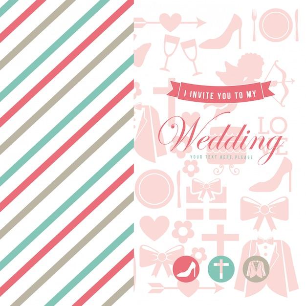 Hochzeitskarte über weißer hintergrundvektorillustration Premium Vektoren