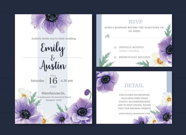 Hochzeitskarten-blumenaquarell, dankeskarte, einladungsheiratillustration Kostenlosen Vektoren