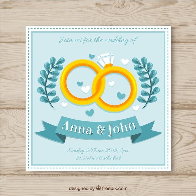 Hochzeitskarteneinladung Mit Ringen In Der Flachen Art Download