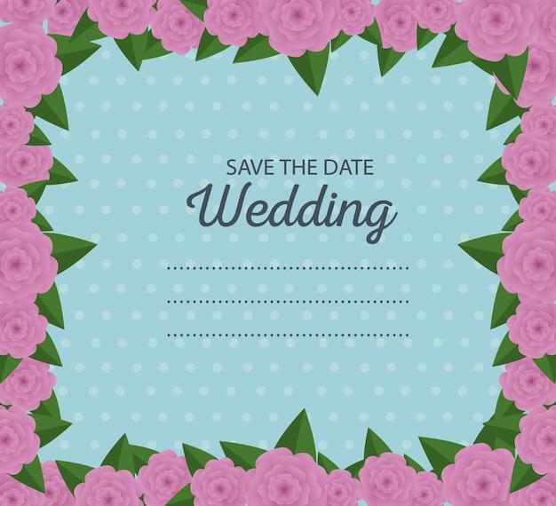 Hochzeitskartenrand mit blumen- und blattdekoration Premium Vektoren