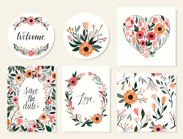 Hochzeitskartensammlung, abwehr die datumseinladung, nahtloses muster mit blumen Premium Vektoren