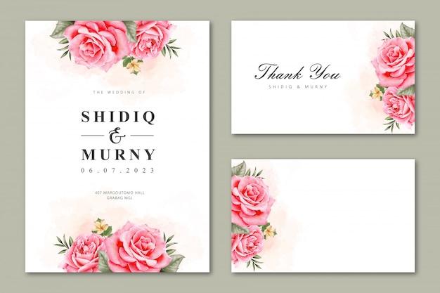 Hochzeitskartensatz mit dem aquarell mit blumen Premium Vektoren