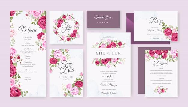Hochzeitskartensatzschablone mit schönem blumen und blättern Premium Vektoren