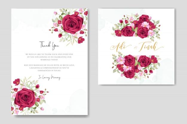 Hochzeitskartensatzschablone mit schönem blumen- und blatthintergrund Premium Vektoren