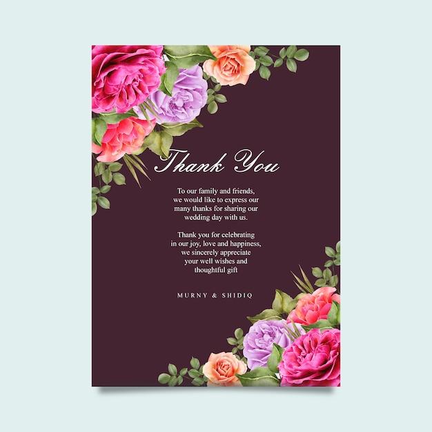 Hochzeitskartenschablone mit buntem blumen Premium Vektoren