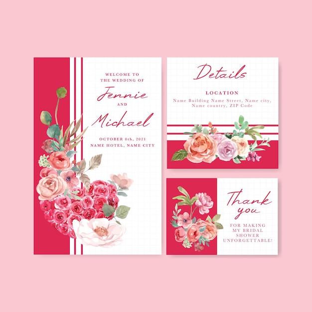 Hochzeitskartenschablone mit der liebe blühenden konzeptentwurf aquarellillustration Kostenlosen Vektoren