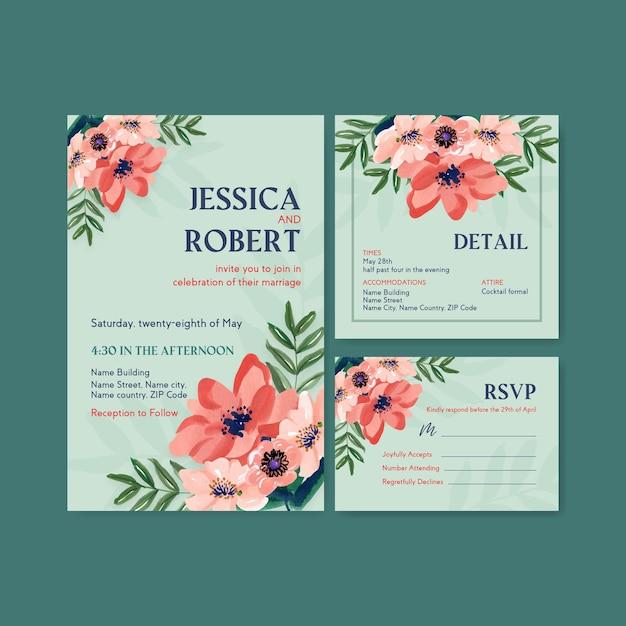 Hochzeitskartenschablone mit konzeptentwurf der pinselblumen für einladung und heiraten aquarell Kostenlosen Vektoren
