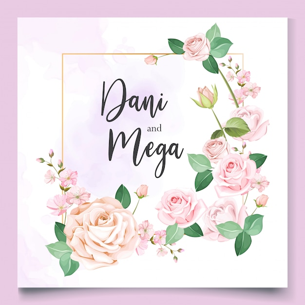Hochzeitskartenschablone mit schönem blumenkranz Premium Vektoren