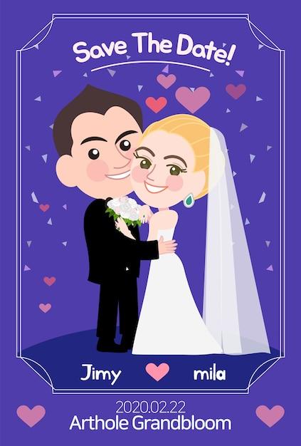 Hochzeitskartenschablone mit vektorillustration Premium Vektoren