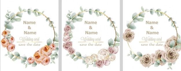 Hochzeitskranz aquarell rosen sammlung Premium Vektoren