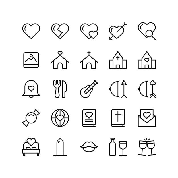 Hochzeitsliebes-Ikonenset   Download der Premium Vektor