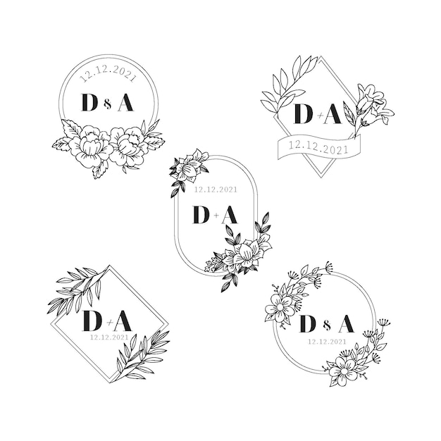 Hochzeitsmonogramm-logos Kostenlosen Vektoren