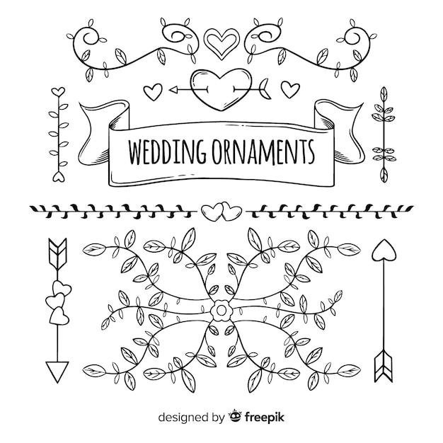 Hochzeitsornamentansammlung Kostenlosen Vektoren