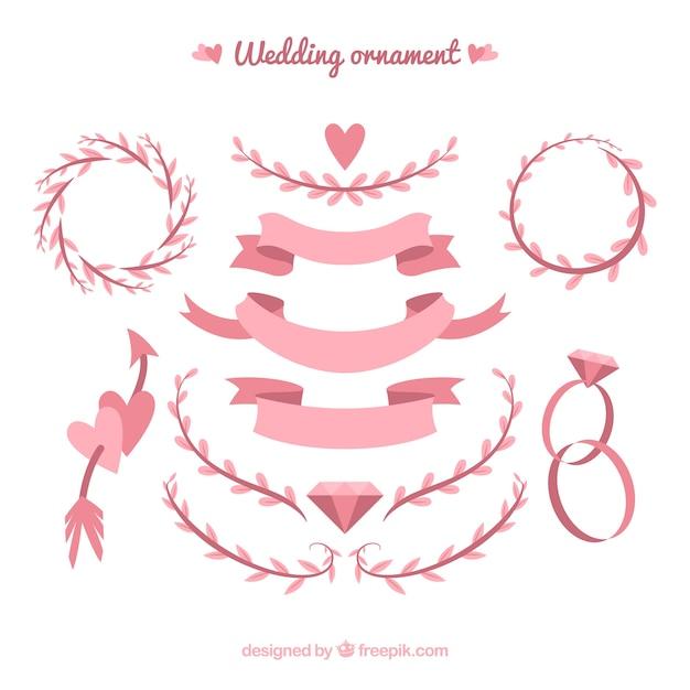 Hochzeitsornamentsansammlung mit bändern und blättern Kostenlosen Vektoren