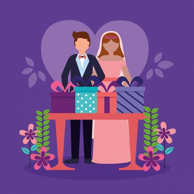 Hochzeitspaar im flachen stil Kostenlosen Vektoren