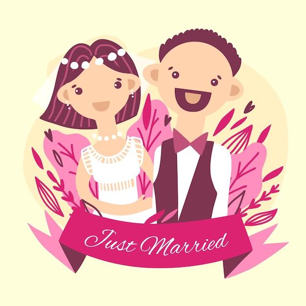 Hochzeitspaar mit bräutigam und niedlicher fliege Kostenlosen Vektoren