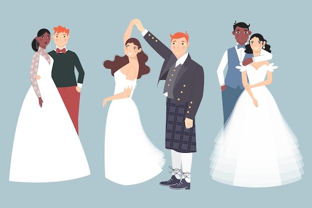 Hochzeitspaar tanzen zusammen Kostenlosen Vektoren