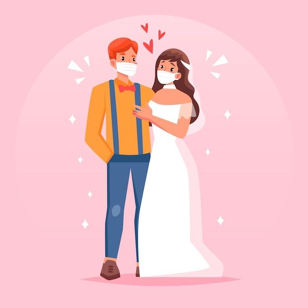 Hochzeitspaar trägt gesichtsmasken Kostenlosen Vektoren