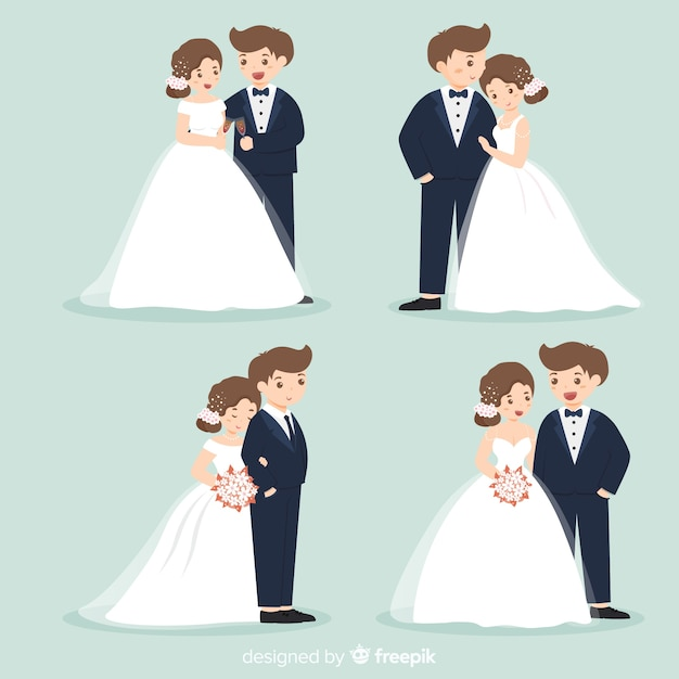 Hochzeitspaar-zeichensammlung Kostenlosen Vektoren