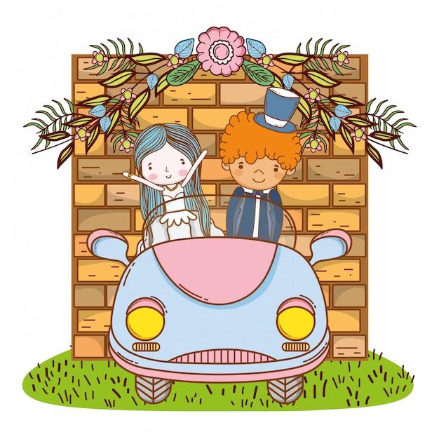 Hochzeitspaare Auf Netter Karikatur Des Autos Download Der