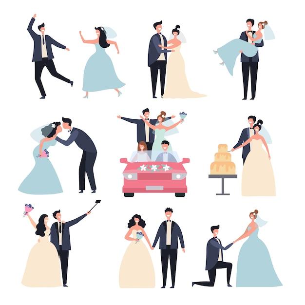Hochzeitspaare. braut zeremonie feier mi tag liebe bräutigam eheringe zeichen Premium Vektoren
