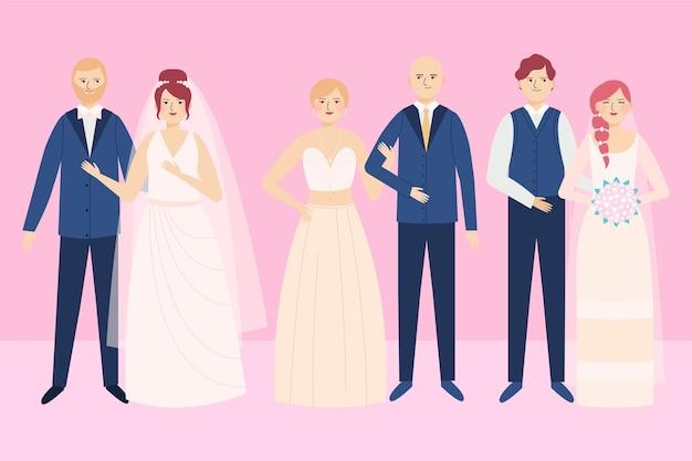 Hochzeitspaare sammlung Kostenlosen Vektoren