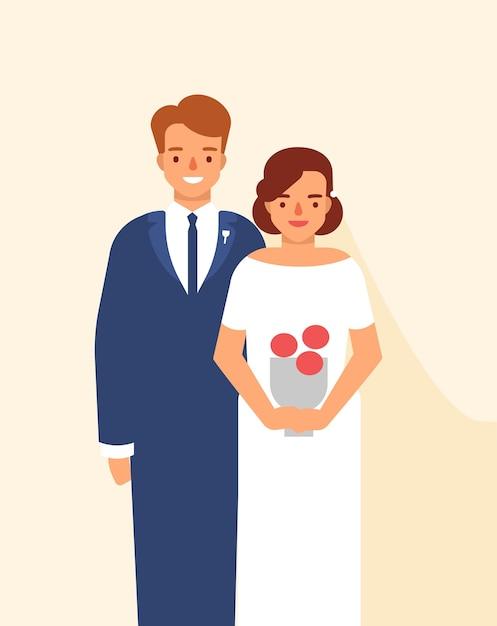 Hochzeitsporträt des niedlichen glücklichen paares der jungen lächelnden braut und des bräutigams gekleidet in eleganter kleidung Premium Vektoren
