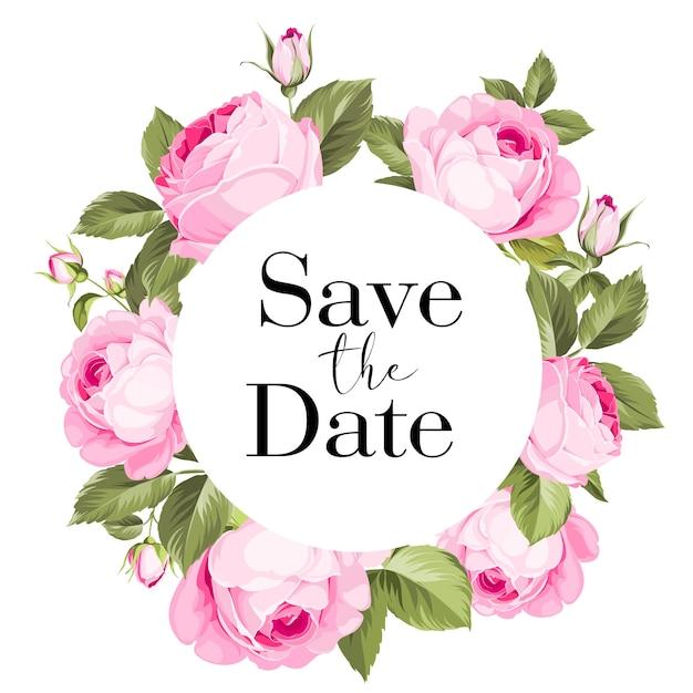 Hochzeitsrahmenkarte mit blühenden rosen. Kostenlosen Vektoren