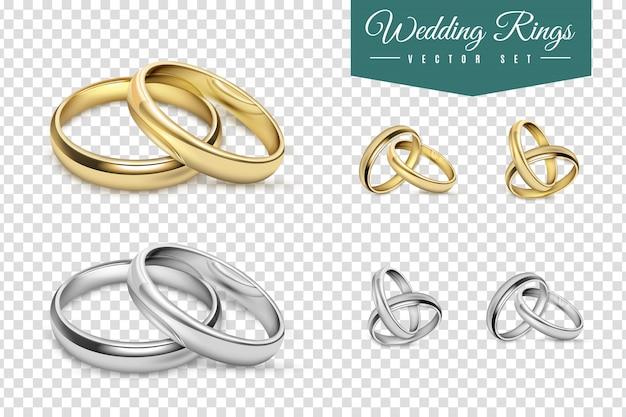 Hochzeitsringe eingestellt Kostenlosen Vektoren