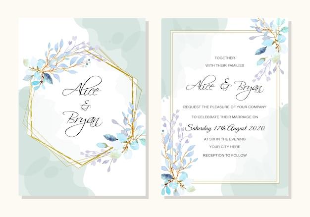 Hochzeitsschablone mit aquarellblättern Premium Vektoren