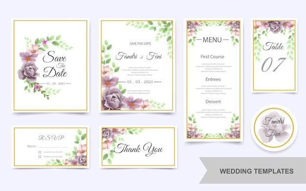 Hochzeitsschablonenbündel mit schönen purpurroten blumen Premium Vektoren