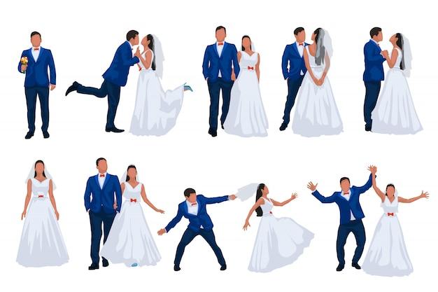 Hochzeitsset bräutigam und braut Premium Vektoren