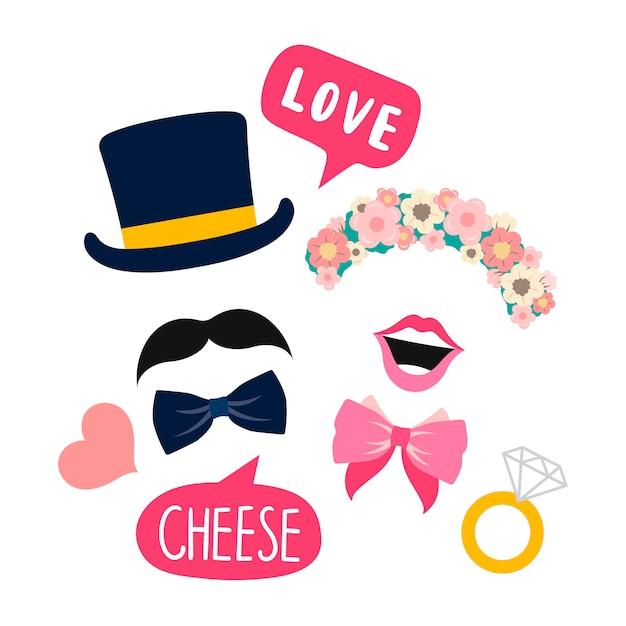 Hochzeitsstandstützen für frauen- und mannvektor Kostenlosen Vektoren