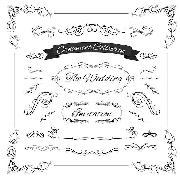 Hochzeitsstrudelverzierung kalligraphisch für weinlesehochzeitseinladungs-rahmenplan Premium Vektoren