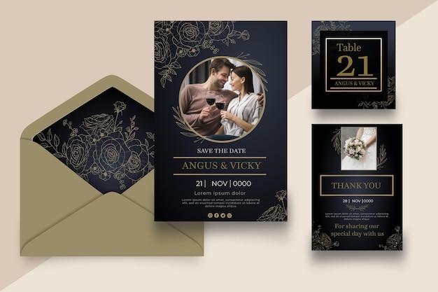 Hochzeitstag briefpapier sammlung Premium Vektoren
