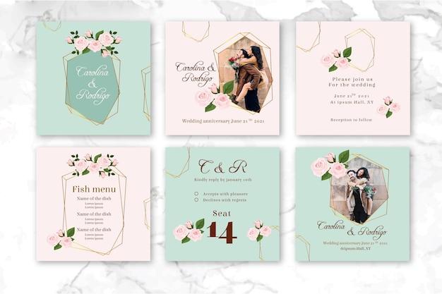 Hochzeitstag instagram beiträge Premium Vektoren
