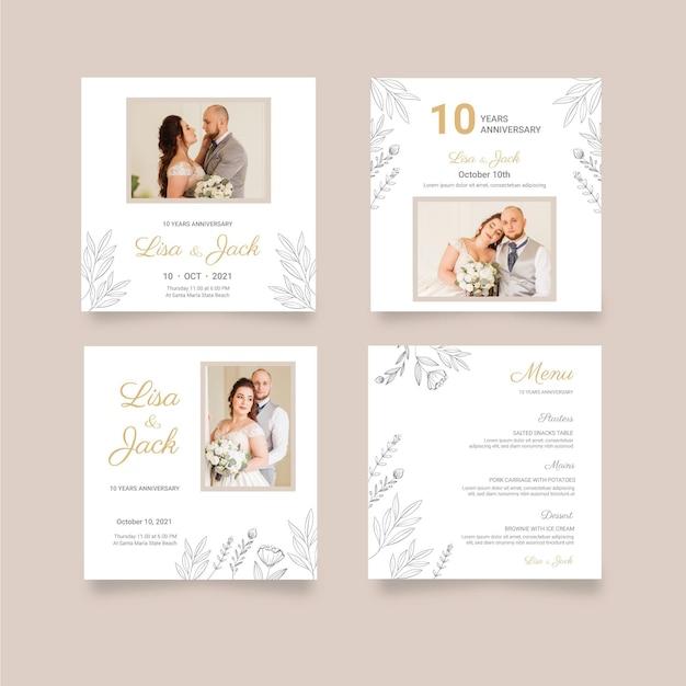 Hochzeitstag instagram beiträge Kostenlosen Vektoren
