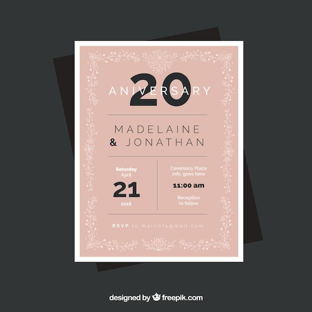Hochzeitstag Karte In Flachen Stil Download Der Kostenlosen Vektor