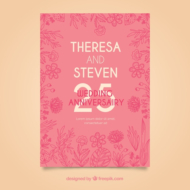 Hochzeitstag Karte Mit Blumen Download Der Kostenlosen Vektor