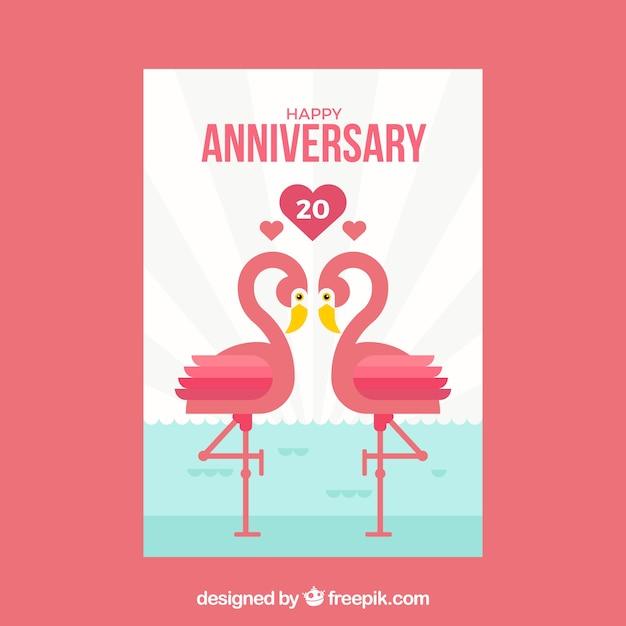 Hochzeitstag Karte Mit Flamingopaaren Download Der Kostenlosen Vektor