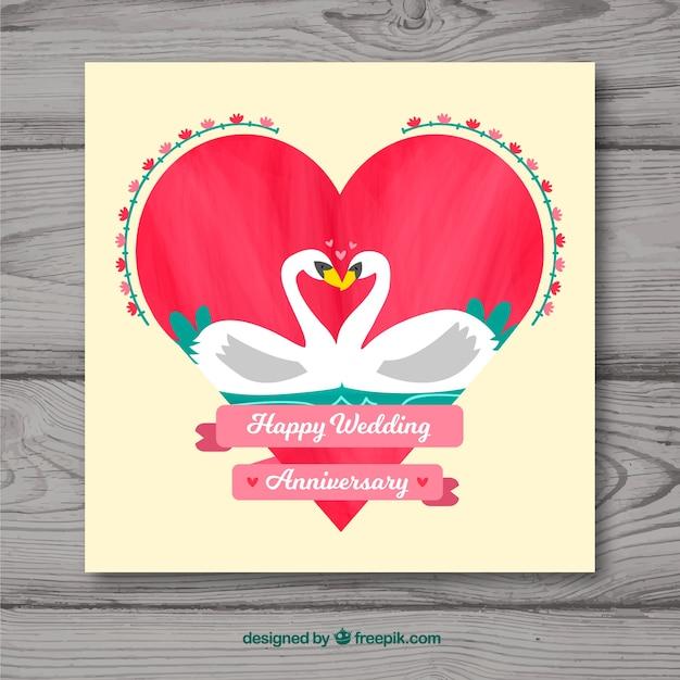 hochzeitstag karte Hochzeitstag karte mit herz in flachen stil | Download der