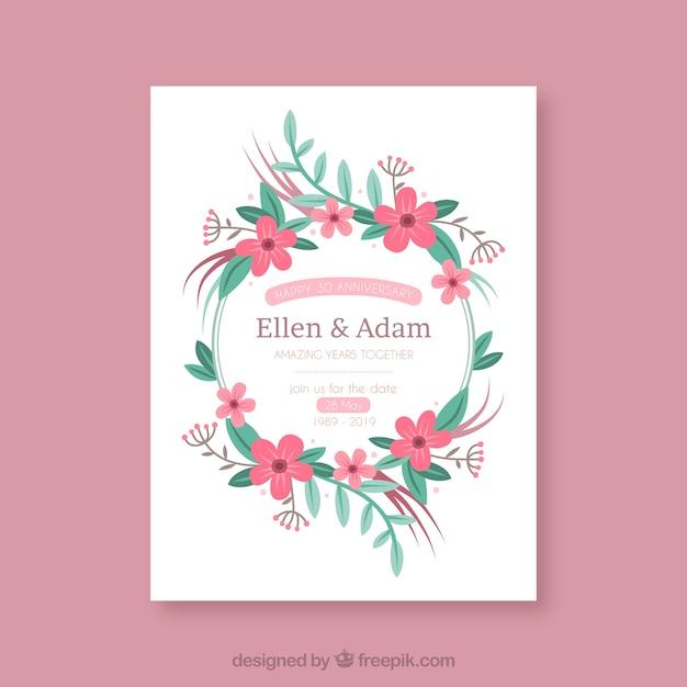 Hochzeitstag Karte Mit Kranz Aus Blumen Download Der Kostenlosen
