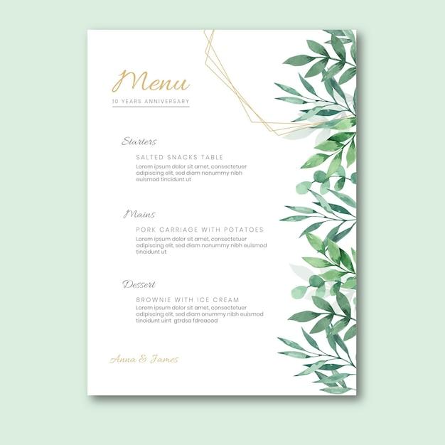 Hochzeitstagmenü mit blättern Kostenlosen Vektoren