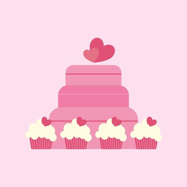 Hochzeitstorte Und Cupcakes Download Der Premium Vektor